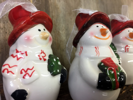 Snowman Hanging Ceramic Christmas Tree Decorations ~ Set of 3